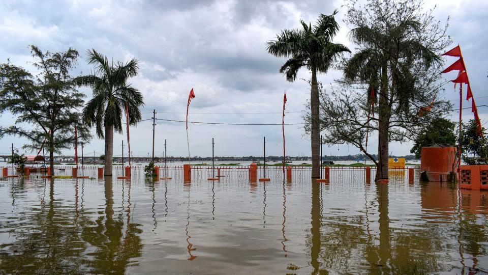 A low lying area submerged in floodwaters following heavy rainfall in Prayagraj, Uttar Pradesh, earlier inSeptember.