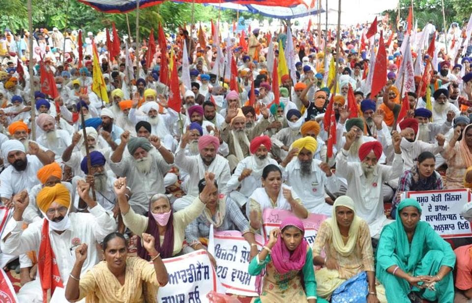 Farmers agitating in Amritsar against the passage of the agriculture ordinances.