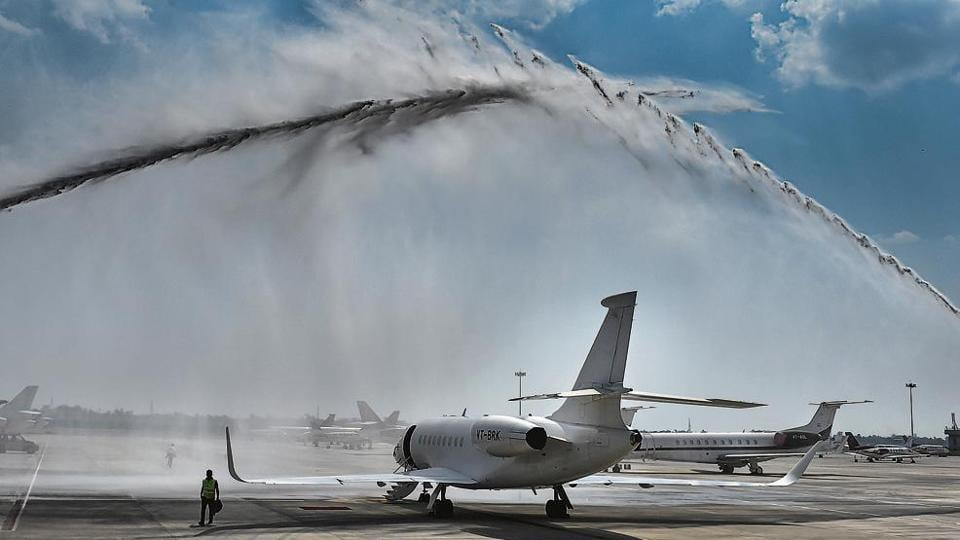 A private jet being accorded a water salute during the inauguration of general aviation terminal at IGI Airport in New Delhi on Thursday.