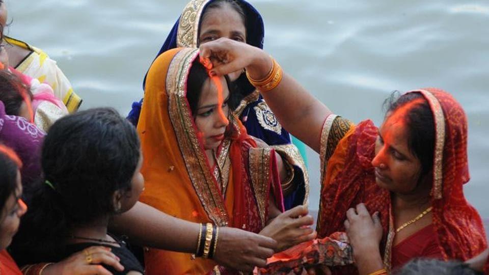 Devotees celebrating Chhath Puja in Kolkata.