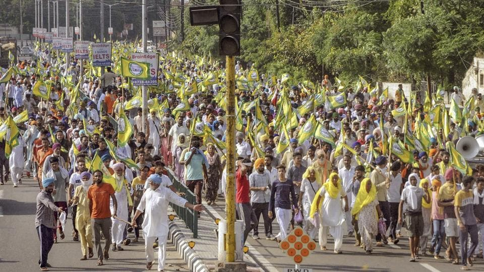 Members of various farmer organisations hold a protest against the Central government over agriculture-related ordinances, in Patiala on Thursday.