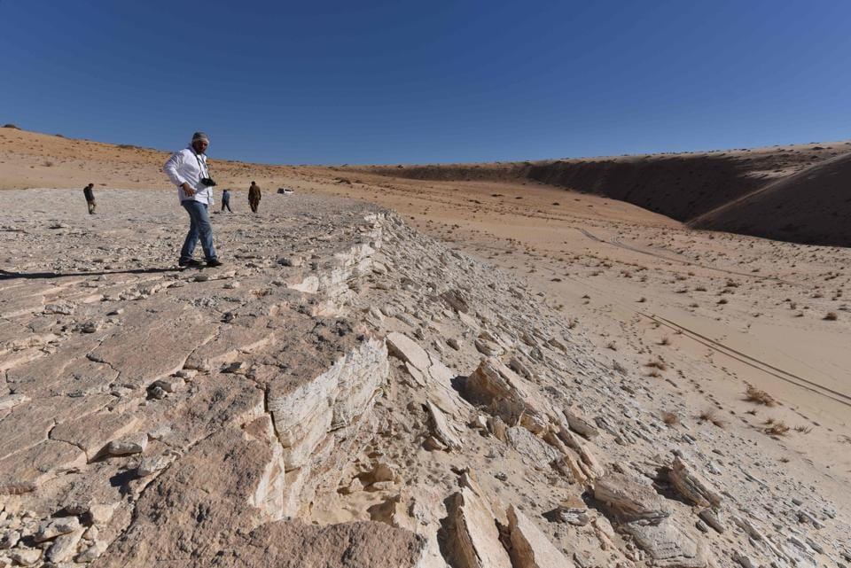 A detailed scene was reconstructed by researchers in a new study published in Science Advances on September 16, 2020, following the discovery of ancient human and animal footprints in the Nefud Desert that shed new light on the routes our ancient ancestors took as they spread out of Africa. (Photo by Badar ZAHRANI / Badar ZAHRANI / AFP)