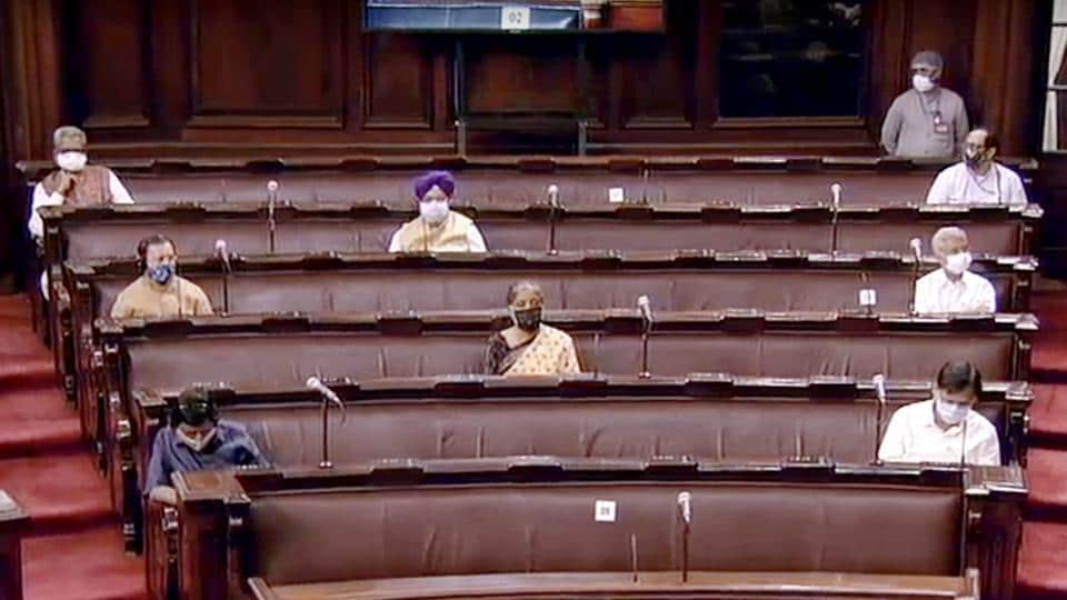 Members of Parliament sitting in Rajya Sabha on Thursday.