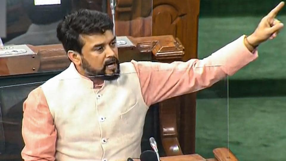 Minister of State for Finance Anurag Thakur speaks in Lok Sabha during the ongoing monsoon session of Parliament.