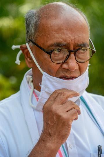 New Delhi: Congress MP Digvijaya Singh at Parliament House during the ongoing Monsoon Session, amid the coronavirus pandemic (PTI Photo/Kamal Kishore)