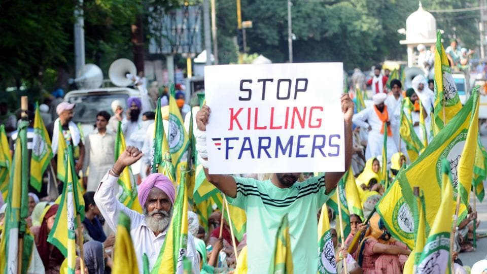 Members of various farmer organisations protest against the central government over farm bills in Patiala on September 17.