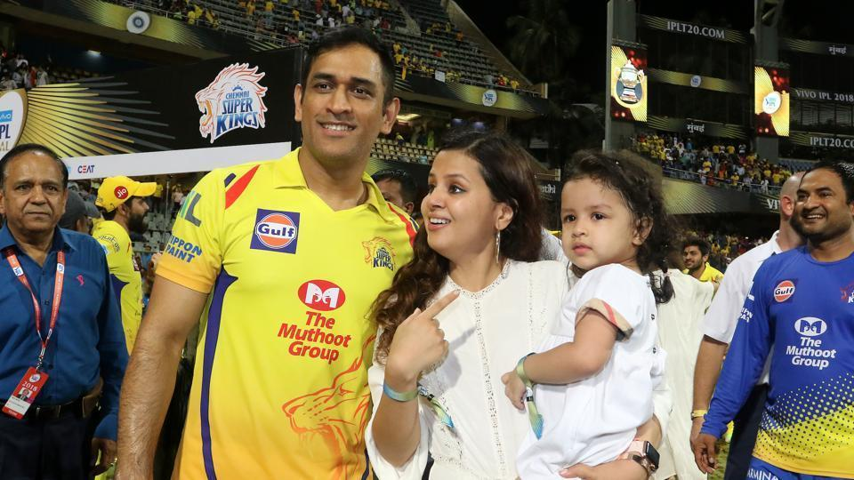 MS Dhoni captain of the Chennai Superkings with his wife Sakshi and daughter Ziva.