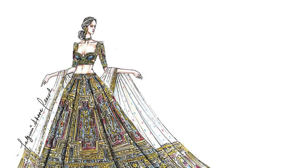 A sketch from designer duo Falguni and Shane Peacock's collection Spectacle Prive.