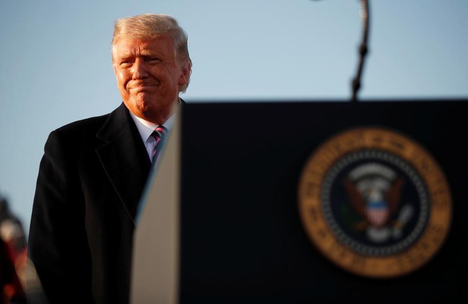 US President Donald Trump holds a campaign rally at Bemidji Regional Airport in Bemidji, Minnesota, US.