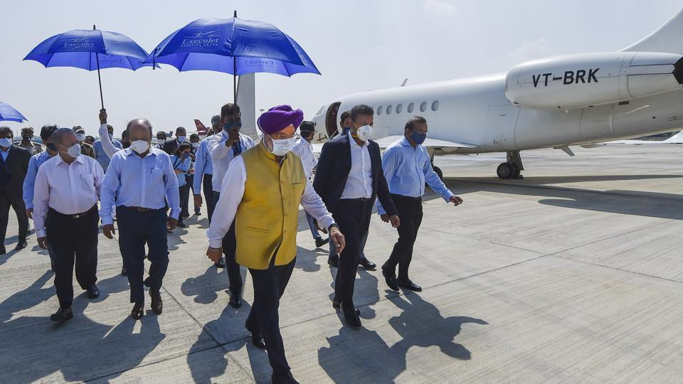 Civil aviation minister Hardeep Singh Puri during the inauguration of General Aviation Terminal, in New Delhi, Thursday, September 17, 2020.