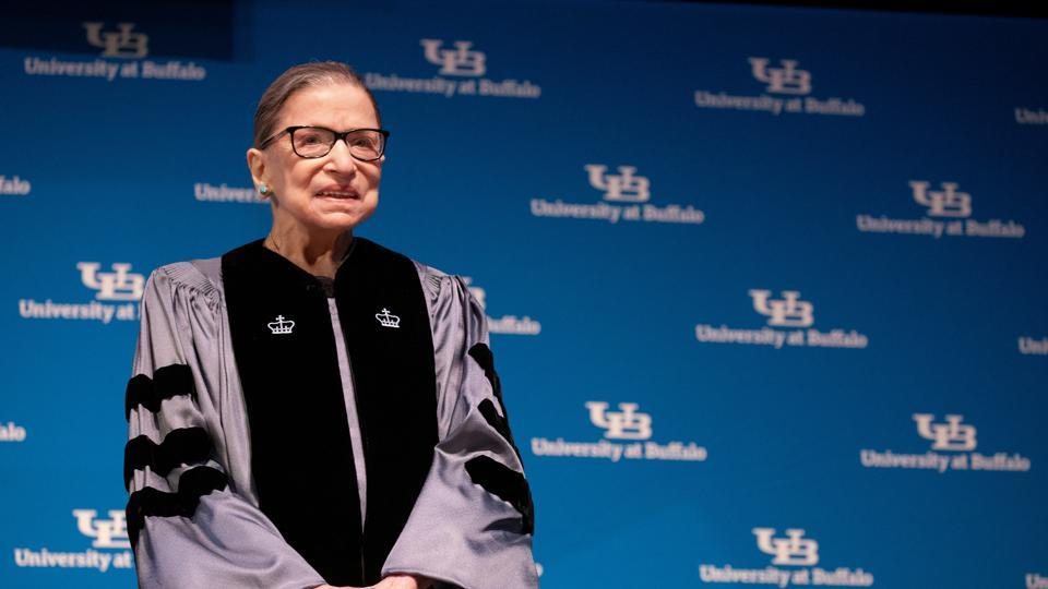 US Supreme Court Justice Ruth Bader Ginsburg smiles during a reception where she was presented with an honorary doctoral degree at the University of Buffalo School of Law in Buffalo, New York.