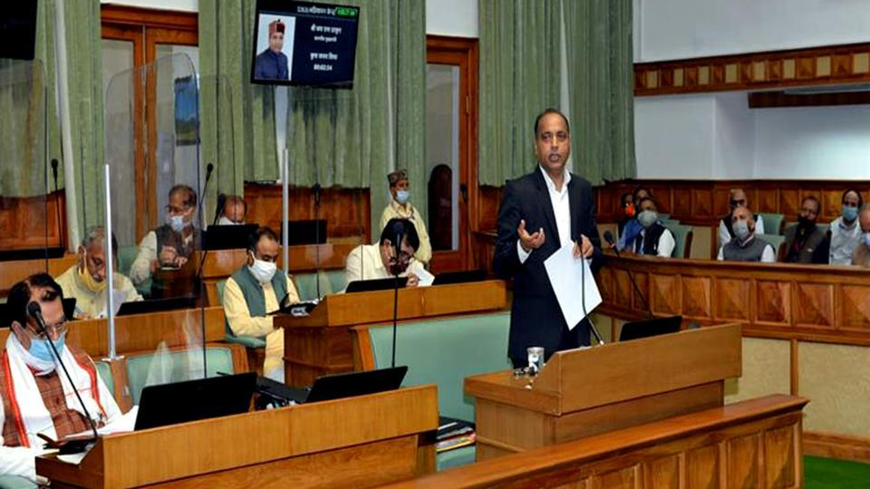 Chief minister Jai Ram Thakur addressing the house during the Himachal monsoon session on Friday,