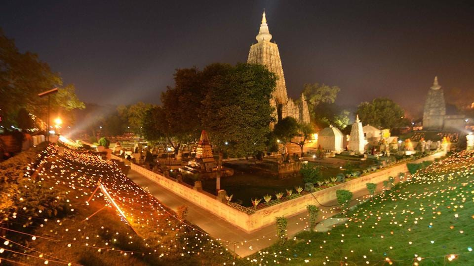 Lord Buddha is said to have found enlightenment while sitting under a Peepal tree at the Mahabodhi temple complex in Bodh Gaya.