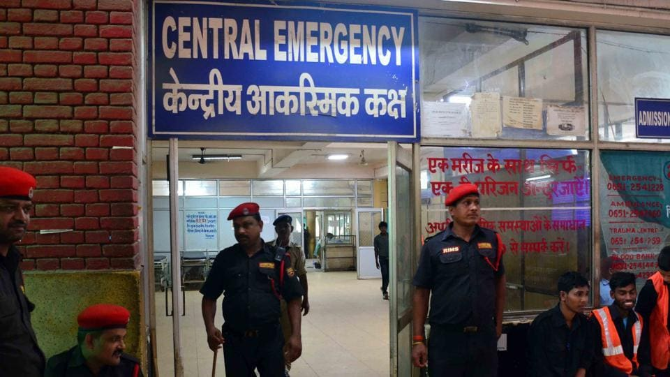 File photo: Private security guards at emergency at Rajendra Institute of Medical Sciences (RIMS) in Ranchi, Jharkhand.