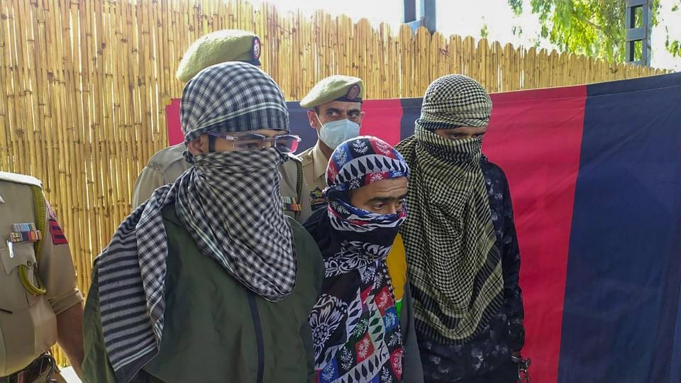 Three LeT terrorists arrested during a counter-insurgency operation in Rajouri district on Saturday.