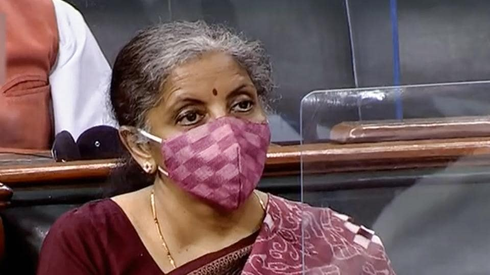 Finance Minister Nirmala Sitharaman in the Lok Sabha during the ongoing Monsoon Session of Parliament, amid the coronavirus pandemic, in New Delhi.