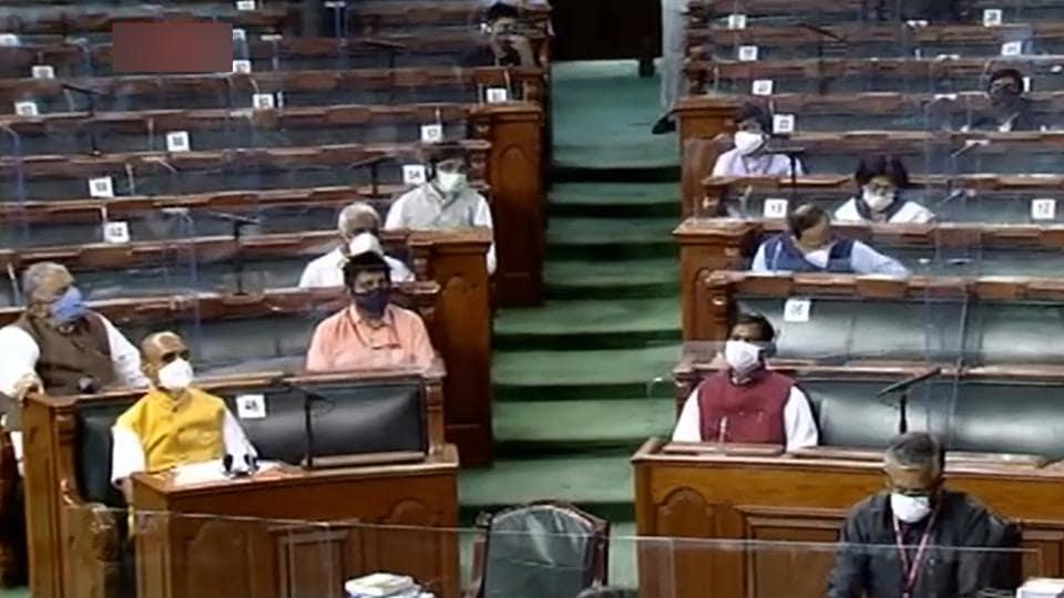Parliamentarians in the Rajya Sabha on Saturday.