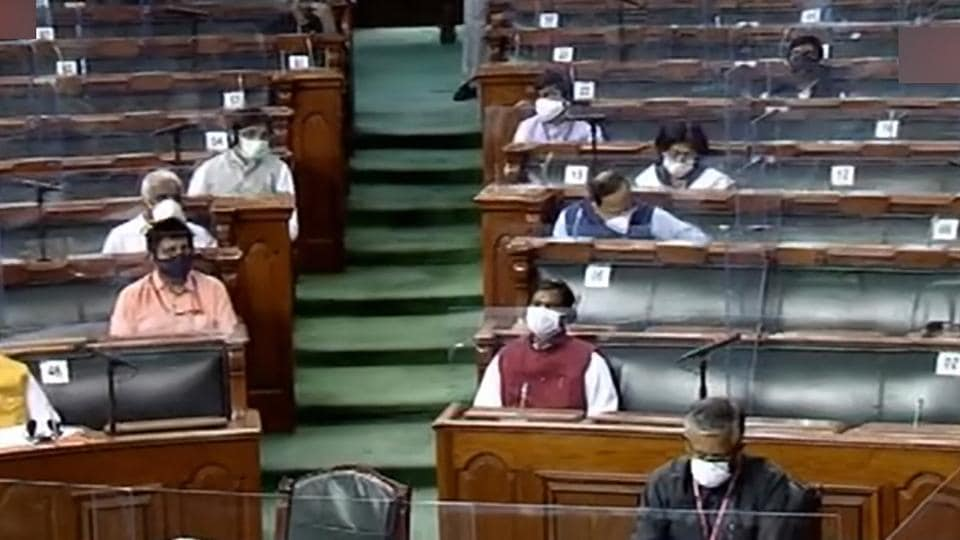 Parliamentarians in the Rajya Sabha during the ongoing Monsoon Session of Parliament, at Parliament House in New Delhi.