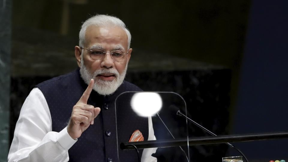 Prime Minister Narendra Modi addresses the 74th session of the United Nations General Assembly, Sept. 27, 2019, at the United Nations headquarters.