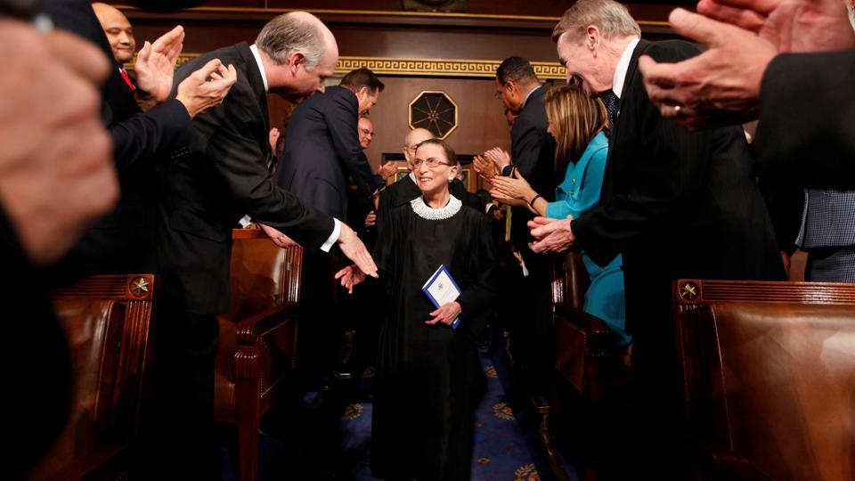 Supreme Court Justice Ruth Bader Ginsburg is greeted upon her arrival prior to US President Barack Obama's address to a joint session of Congress in Washington on February 24, 2009. US Supreme Court Justice Ruth Bader Ginsburg passed away on September 18 at the age of 87 due to complications of metastatic pancreatic cancer at her home in Washington DC. (Pablo Martinez Monsivais / Reuters)