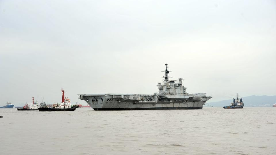 INS Viraat was towed away to the Alang ship-breaking yard in Gujarat from the dockyard in Mumbai on Saturday.