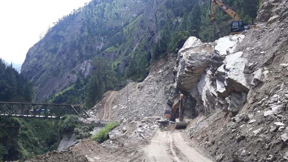 Hill cutting being done for the construction of All Weather Road in Uttarakhand.