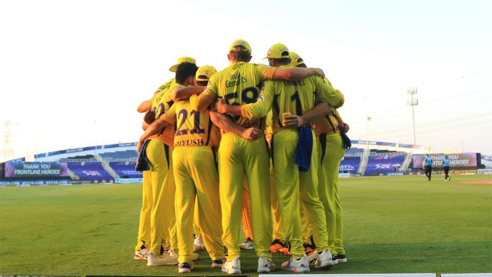 IPL 2020: Players of CSK in a team huddle moments before start of the match.