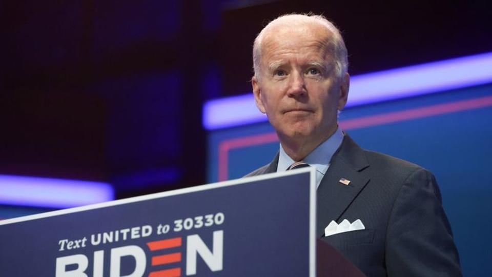Democratic US presidential nominee and former Vice President Joe Biden delivers remarks in Wilmington, Delaware.
