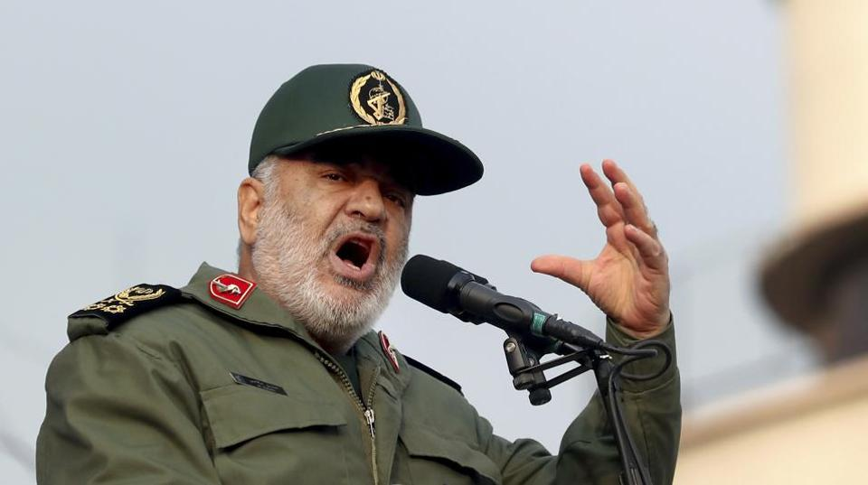 Chief of Iran's Revolutionary Guard Gen. Hossein Salami speaks at a pro-government rally in Tehran, Iran.