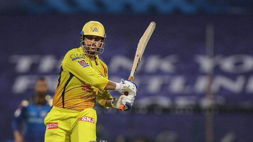 CSK Skipper MS Dhoni plays a shot during the first cricket match of IPL 2020 against Mumbai Indians.