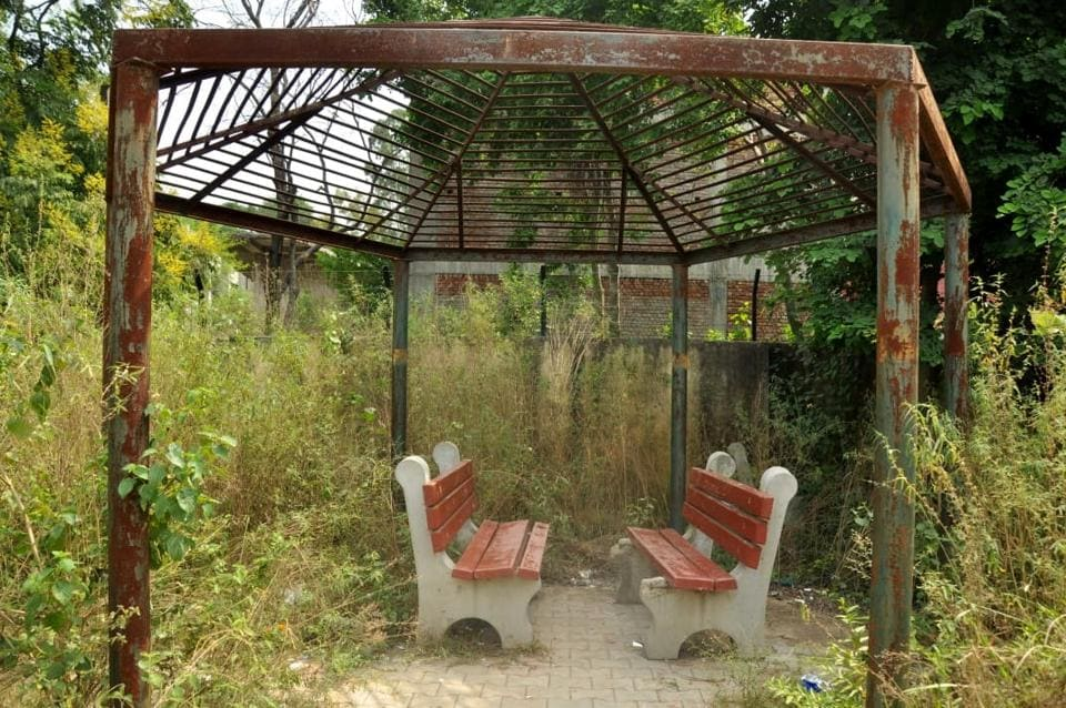 A gazebo with its top missing and wild growth everywhere at a park in Dera Bassi.
