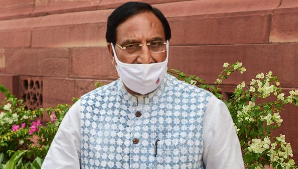 Union education minister Ramesh Pokhriyal at the Parliament House in New Delhi.