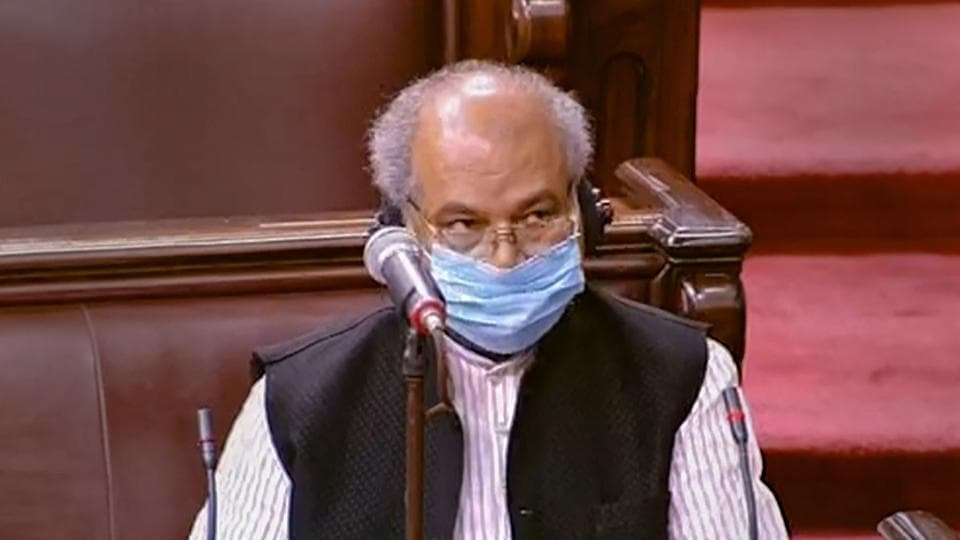 Union Minister Narendra Singh Tomar in the Rajya Sabha.