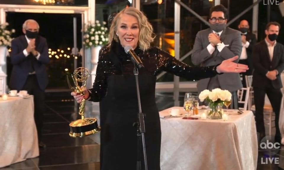 Catherine O'Hara accepts the award for outstanding lead actress in a comedy series for