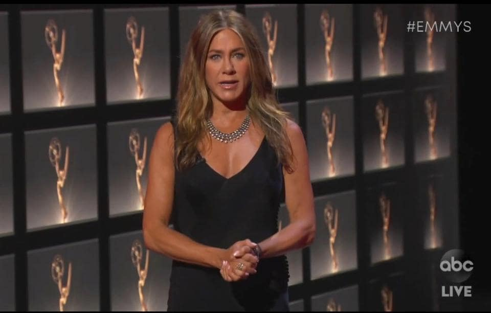 Jennifer Aniston presents the award for outstanding lead actress in a comedy series during the 72nd Emmy Awards broadcast on Sept. 20, 2020.  (AP)