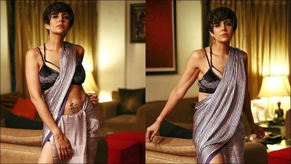 Mandira Bedi makes heads turn in Satya Paul's Rs 28k silk saree teamed with bralette and boots