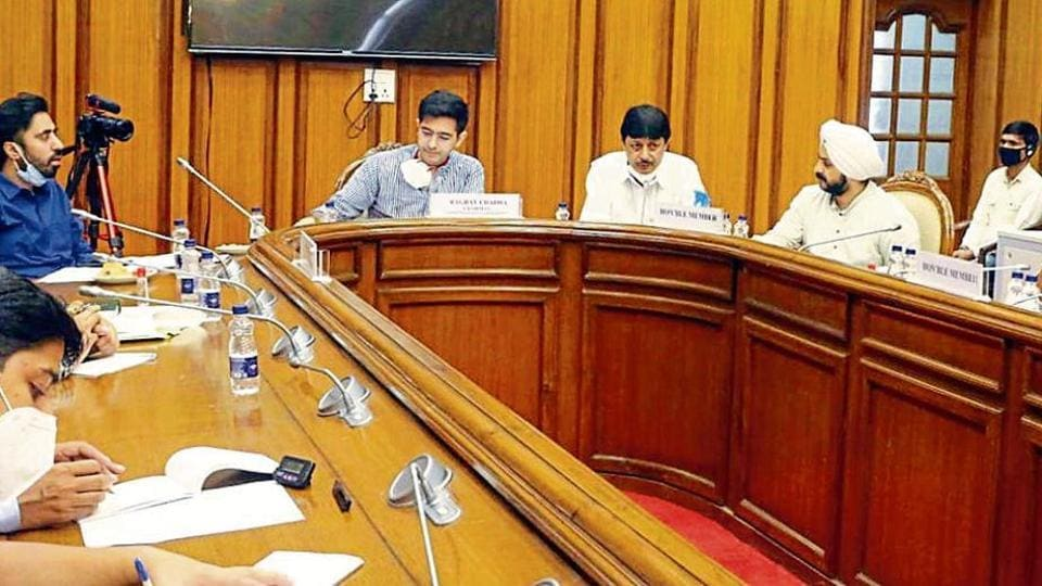 A meeting of Delhi assembly's peace and harmony committee, headed by AAP MLA Raghav Chadha