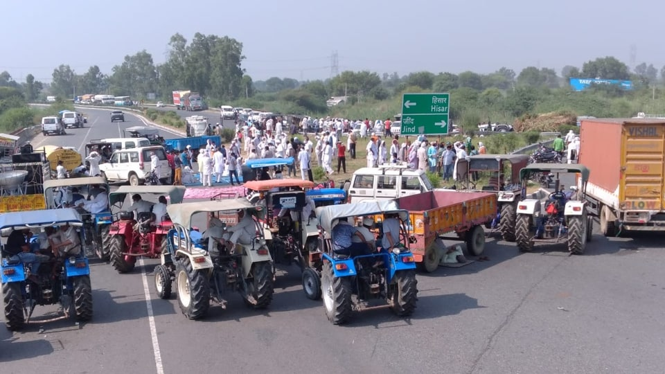 Farmers block Rohtak- Hisar National Highway on Sunday  in protest against three contentious farm sector bills.