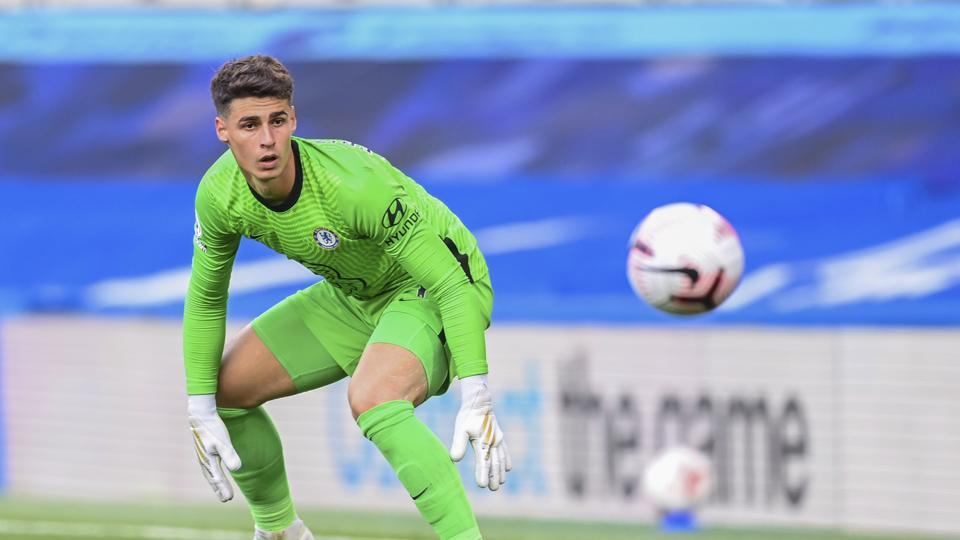 Chelsea's goalkeeper Kepa Arrizabalaga looks the ball during the English Premier League soccer match between Chelsea and Liverpool at Stamford Bridge Stadium.