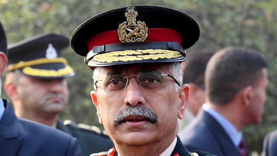 Chief of Army Staff General Manoj Mukund Naravane talks to media after inspecting the Guard of honour during a reception ceremony at South Block in New Delhi on Wednesday.