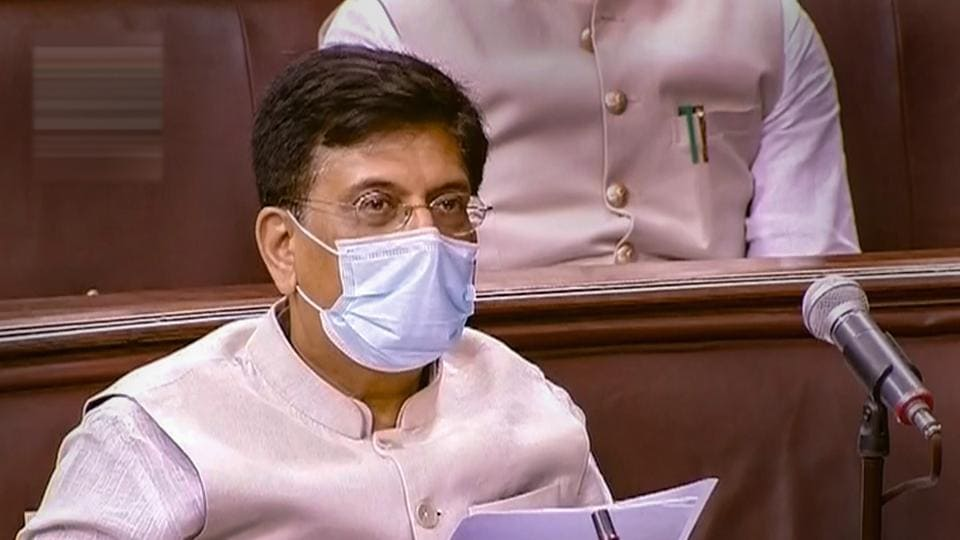Union Minister Piyush Goyal speaks in the Lok Sabha during the ongoing Monsoon Session of Parliament in New Delhi.