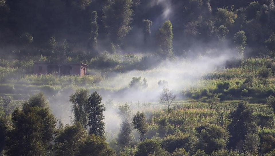 Smoke rises after a mortar shell was fired by Pakistani Army near the Line of Control (LoC), in Balakot sector of Poonch district, Friday, Sept. 18, 2020. (PTI Photo)