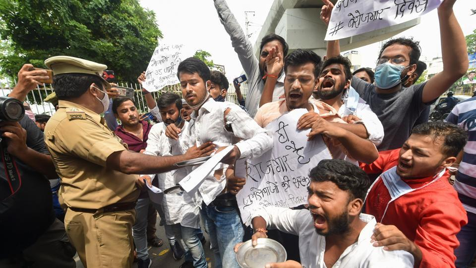 Students stage a protest to mark Prime Minister Narendra Modi's birthday as National Unemployment Day, near Lucknow University in Lucknow, on September 17.