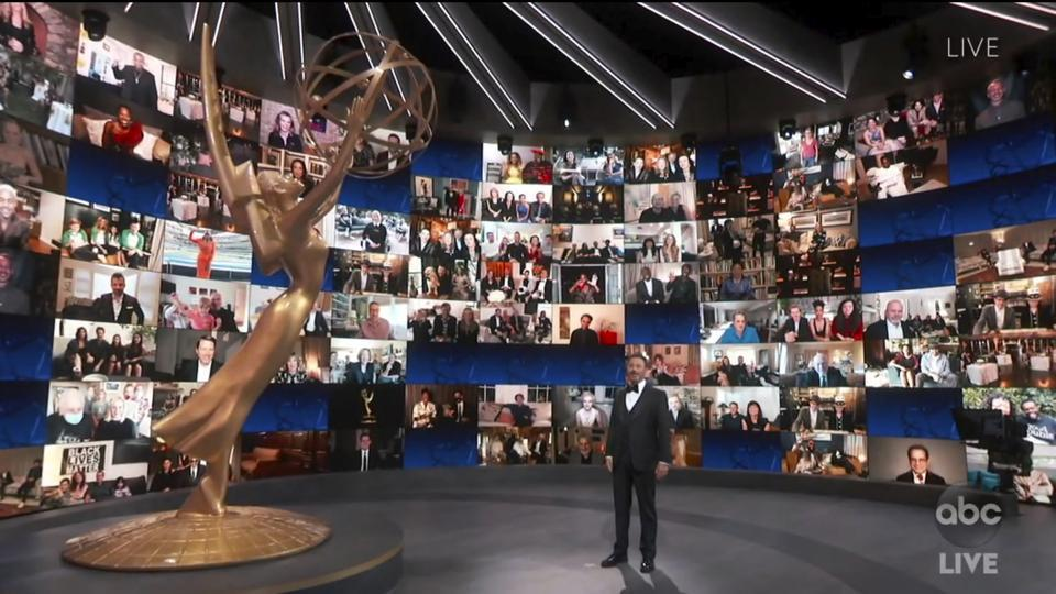 Host Jimmy Kimmel spoke to an empty auditorium while stars of the night sat in their homes with their families, friends and co-stars