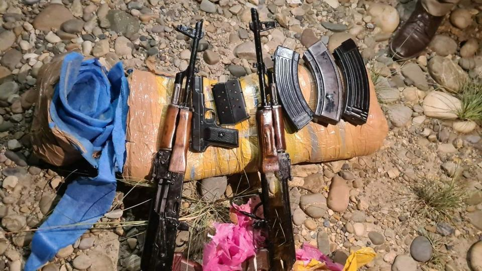 pics of arms and ammunition dropped by a Pakistani drone in Akhnoor sector of Jammu on Tuesday.