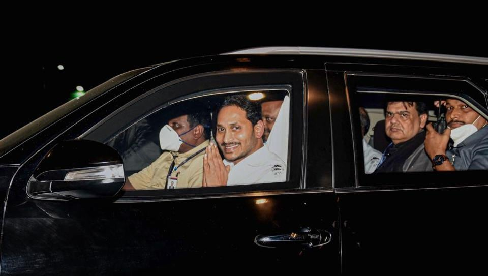 Andhra Pradesh chief minister YS Jagan Mohan Reddy leaves after meeting Home Minister Amit Shah in New Delhi on Tuesday.