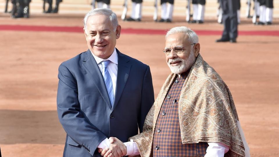 Israeli Prime Minister Benjamin Netanyahu with PM Narendra Modi at the Rashtrapati Bhawan in New Delhi on January 15, 2018.