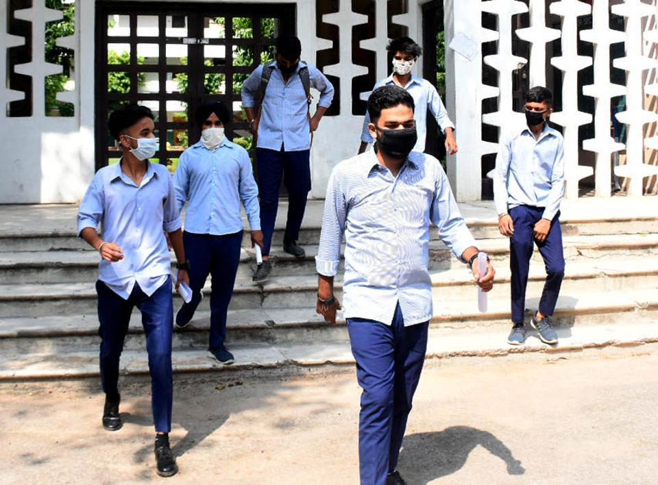 Students coming from examination centres  after CBSE compartment exam in Chandigarh on Sept 22, 2020.