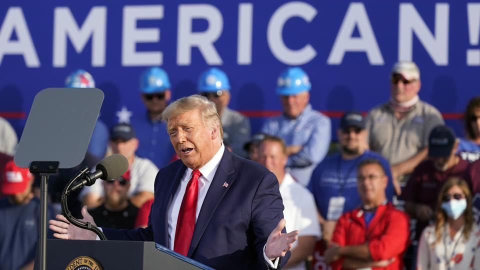 US President Donald Trump speaks during a campaign rally.