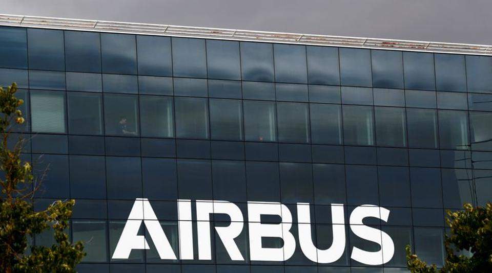 FILE PHOTO: The logo of Airbus is seen at the Airbus Defence and Space facility in Elancourt, near Paris, France, July 1, 2020. REUTERS/Gonzalo Fuentes/File Photo
